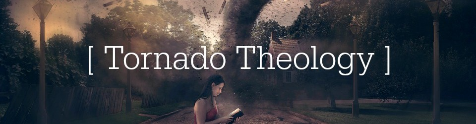 A woman reads her Bible in the midst of a tornado